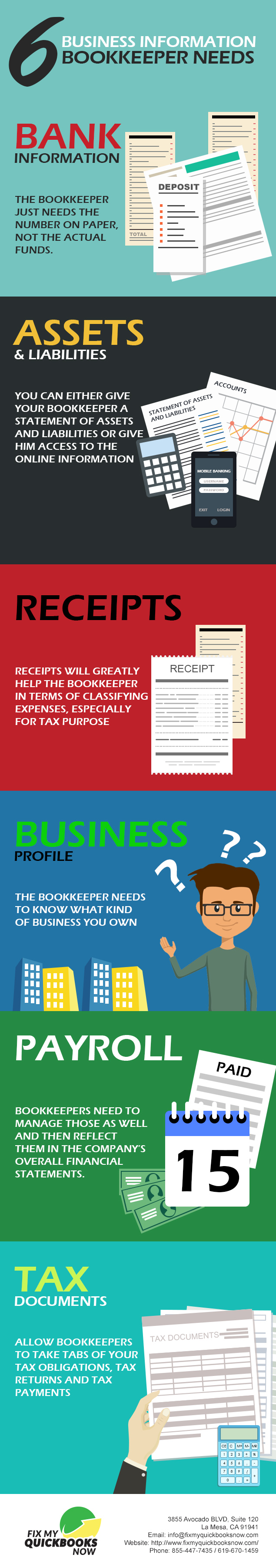 what are the business information you need to let your bookkeepers know